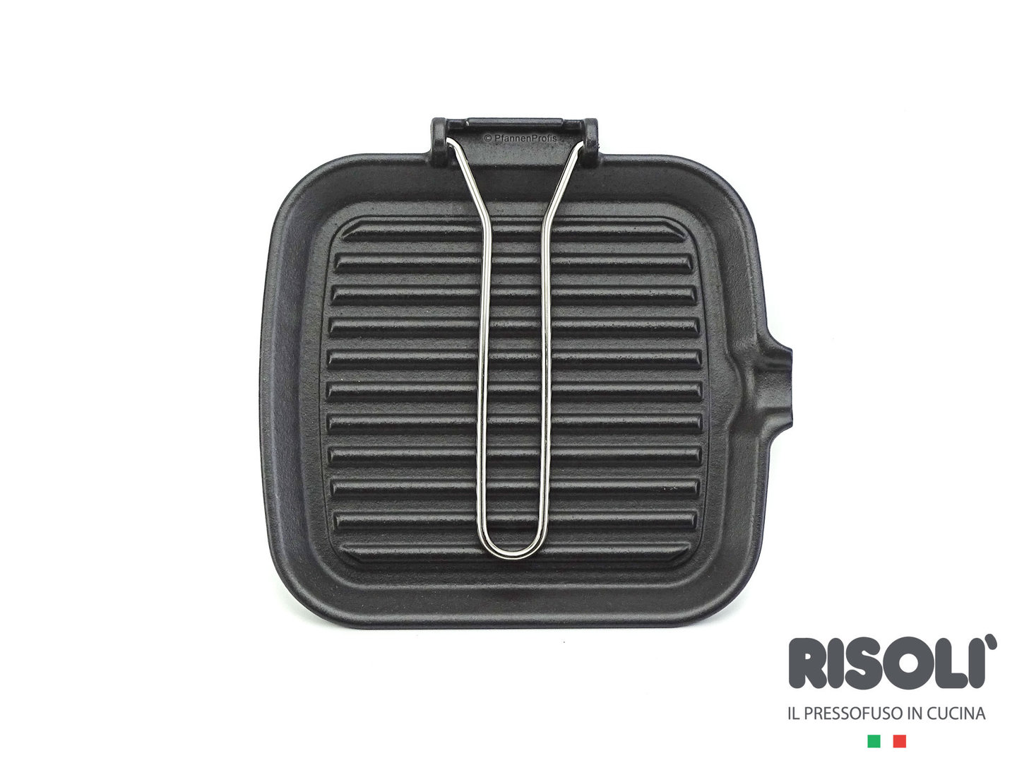 RISOLI cast iron grillpan 24 cm with foldaway handle