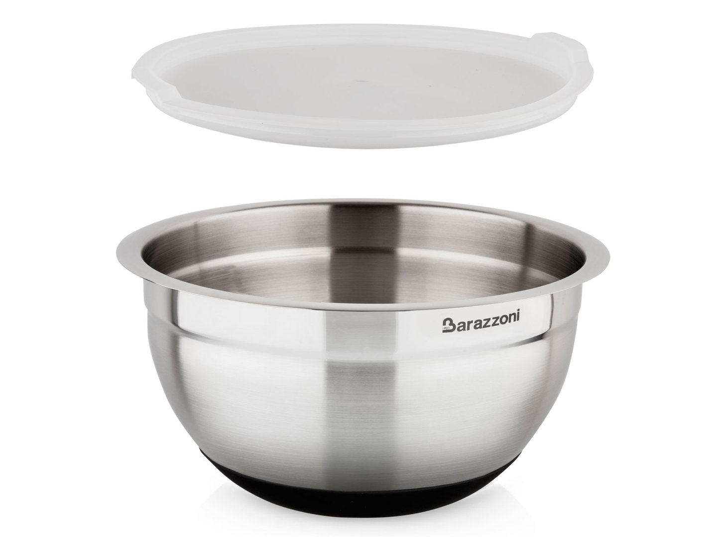 BARAZZONI slip-resistant mixing bowl stainless steel with lid 24 cm 5 liters