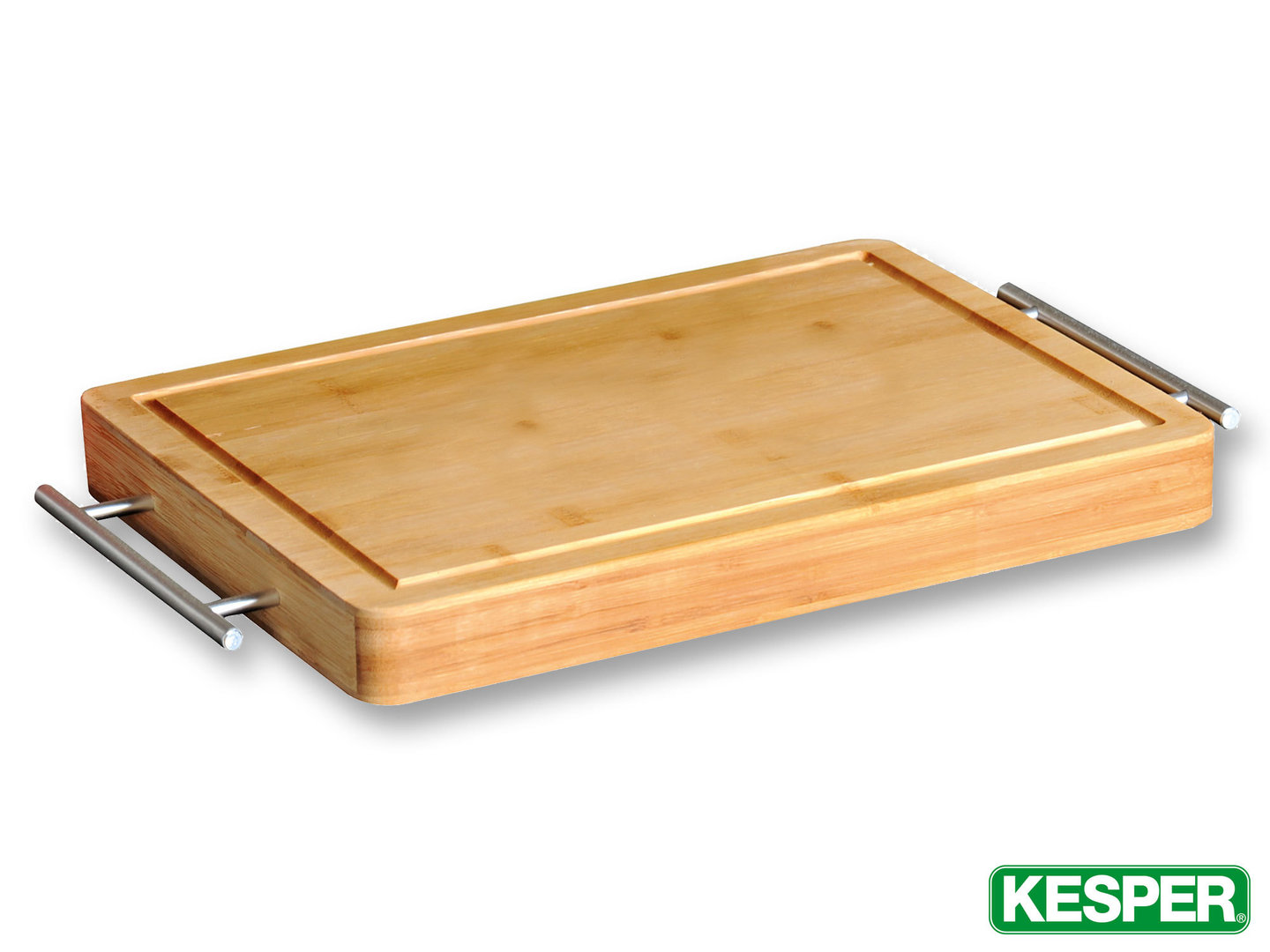 KESPER bamboo cutting board 38 x 28 x 4 cm with juice rim and stainless steel handles