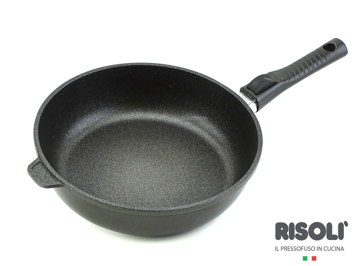 RISOLI cast aluminum deep fry pan BLACKplus induction 28 cm with detachable handle