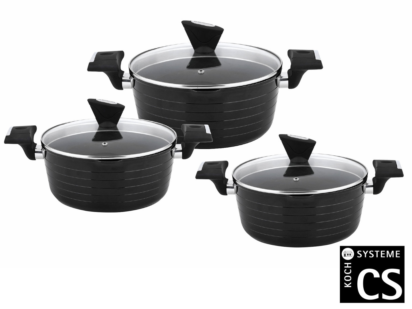 CS KOCHSYSTEME cookware set MONHEIM easy-straining casseroles 16/20/24 cm