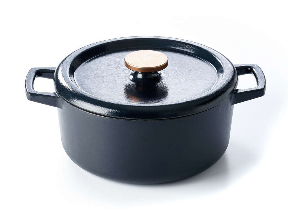 Round Cast Iron Casserole, Enameled Cast Iron Cookware On Glass Top Stove